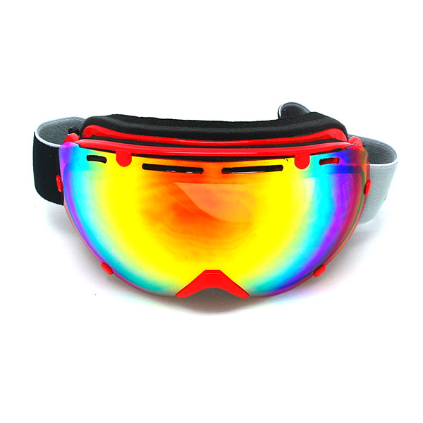 1Storm Adult Snowboard Ski Goggle Anti-Fog Detachable Dual Layer Double Lens Tinted, UV400 Protection, Red by
