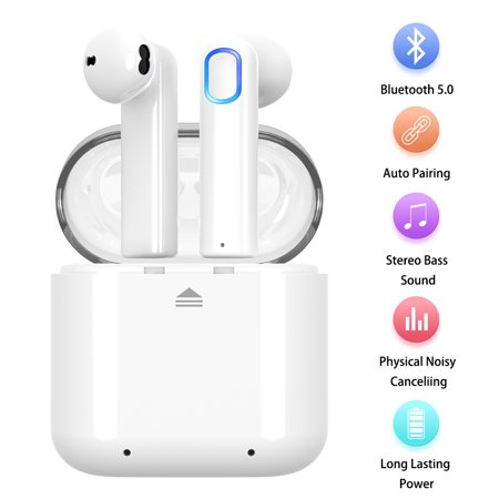 Wireless Earbuds,Bluetooth 5.0 Wireless Earbuds Bluetooth Headphones with Deep Bass HiFi 3D Stereo Sound, Built-in Mic Earphones with Portable Charging Case for Smartphones and Laptops (White) Head Earbud Stereo Headphones