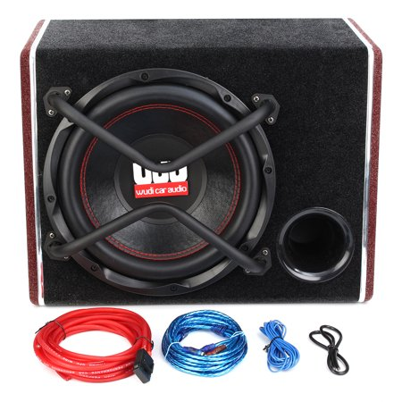 12 Inch 1200W 12V 4 Ohm Car Active Audio Subwoofer Trapezoidal Sub Woofer Speaker Amplifier + Cable Kits  For Vehicles Truck Auto Black  - image 9 de 14