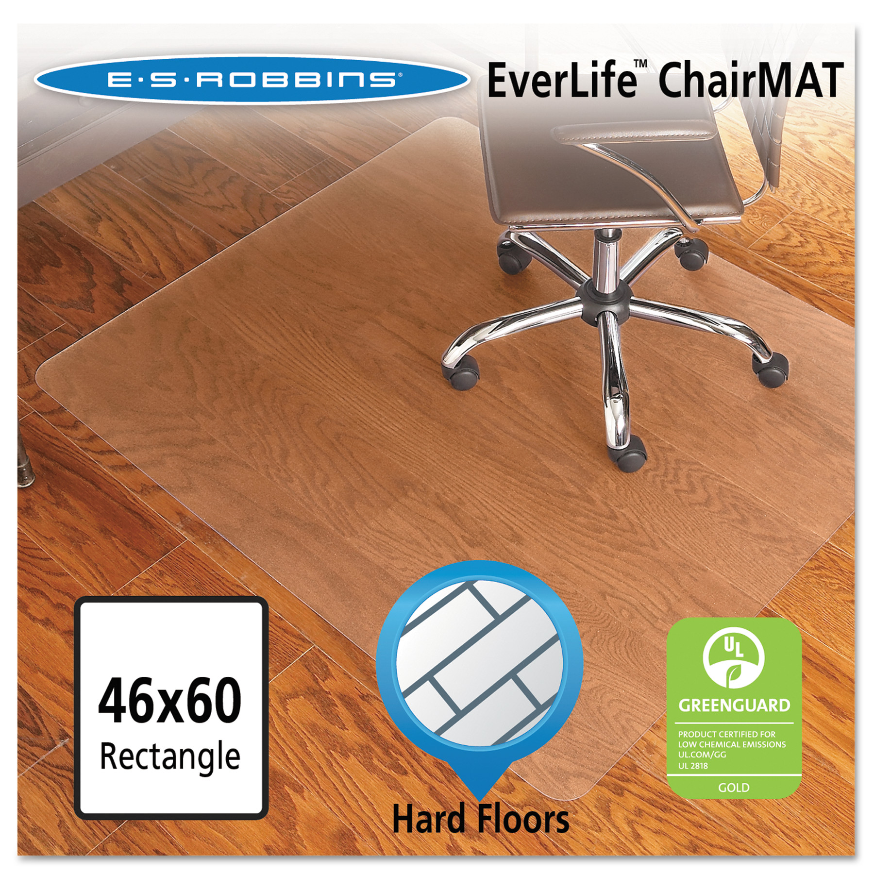ES Robbins Economy Series 46 x 60 Chair Mat for Hard Floor, Rectangular