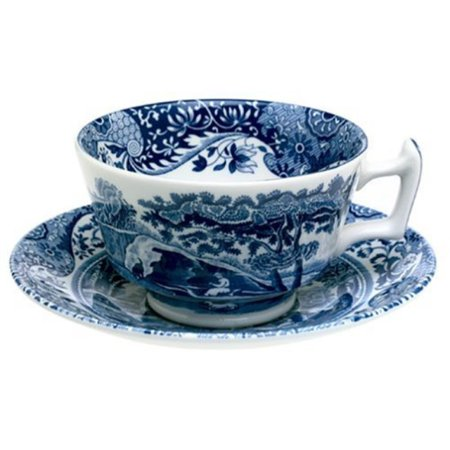- Spode Blue Italian Earthenware Teacup and Saucer by Royal Worcester