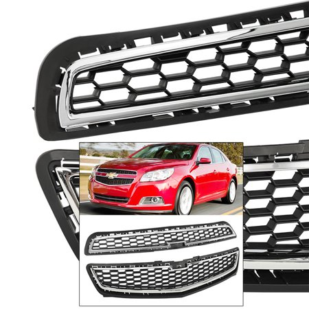 Front Upper Lower Grille For Chevy Malibu 13 LS LT Radiator Airflow Chrome Black (Chevy Malibu Thermostat)