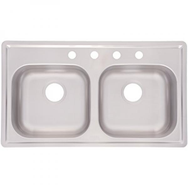 Kindred FMSB654NB Double Bowl Stainless Steel 33 X 19 Inch Top Mount Sink