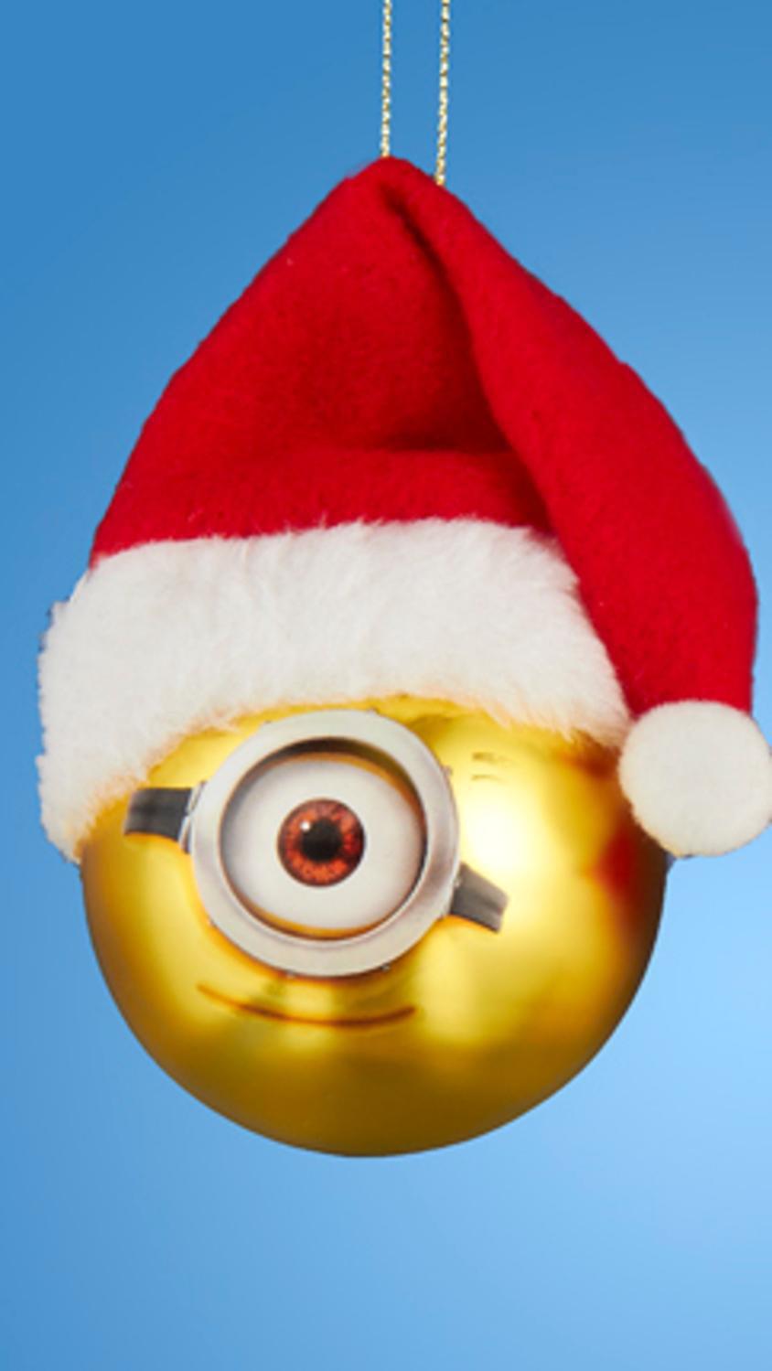 despicable me minion stuart with santa hat gold glass christmas ball ornament 25 60mm - Minion Christmas Ornaments