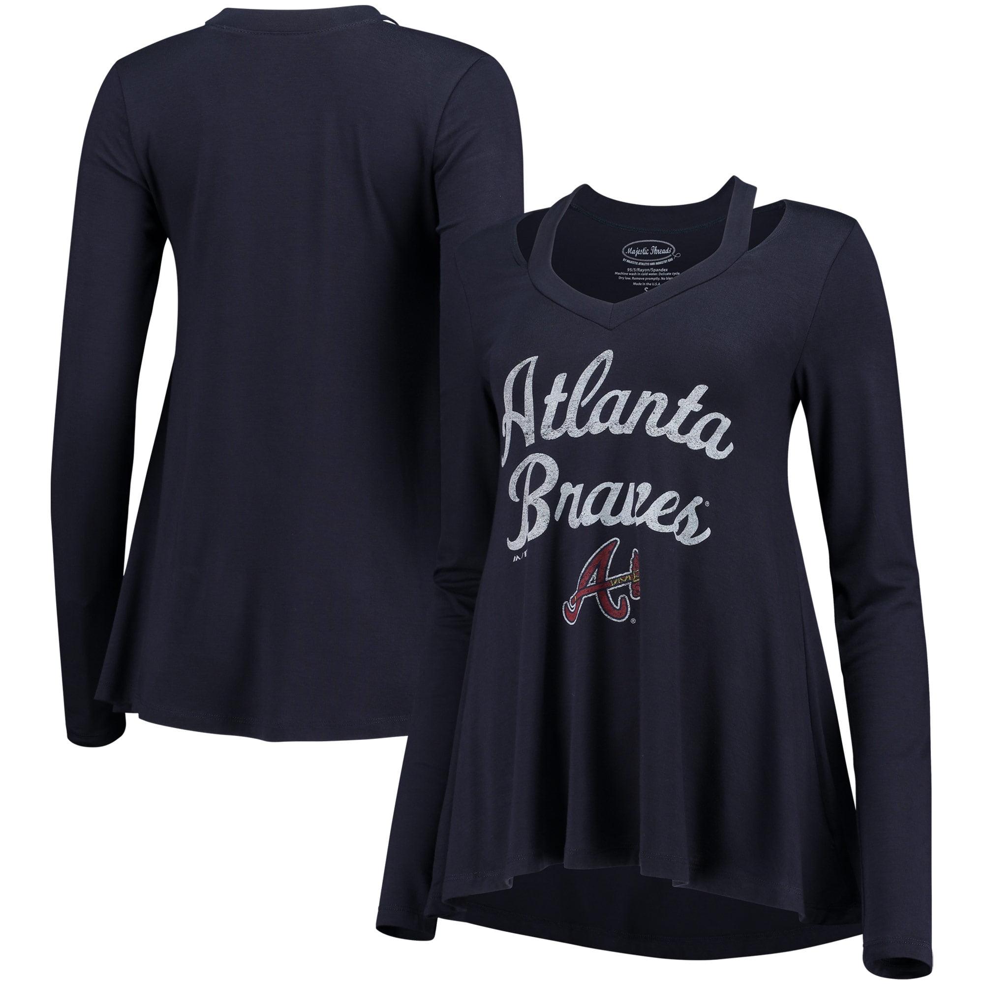 Atlanta Braves Majestic Threads Women's Separation Long Sleeve V-Neck T-Shirt - Navy