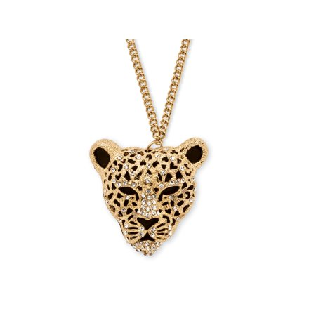 White Crystal Leopard Pendant Necklace in Yellow Gold Tone 28
