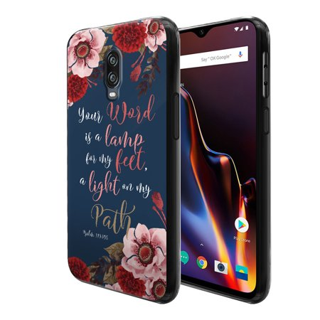 """FINCIBO Soft TPU Black Case Slim Protective Cover for Oneplus 6T 6.4"""", Christian Bible Quote Verses Psalm 119:105"""
