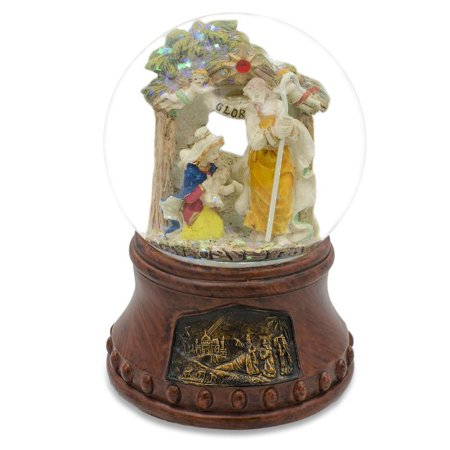 Holy Family with Angels Nativity Scene Musical Snow Globe