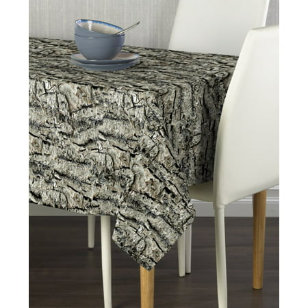 Bark Wood Gray Camo Tablecloth 60
