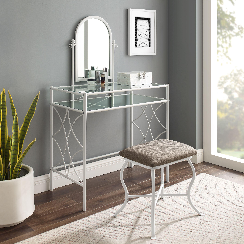 Mainstays Lattice Metal And Gl Vanity Set With Shelf Upholstered Stool White