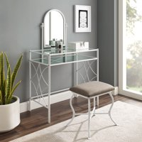 Mainstays Lattice Metal and Glass Vanity Set with Shelf and Upholstered Stool, Multiple Colors
