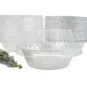 """5¾"""" Aluminum Foil Pot Pie Pan w/ Snap on Plastic Lid - Extra Deep - #2400P"""