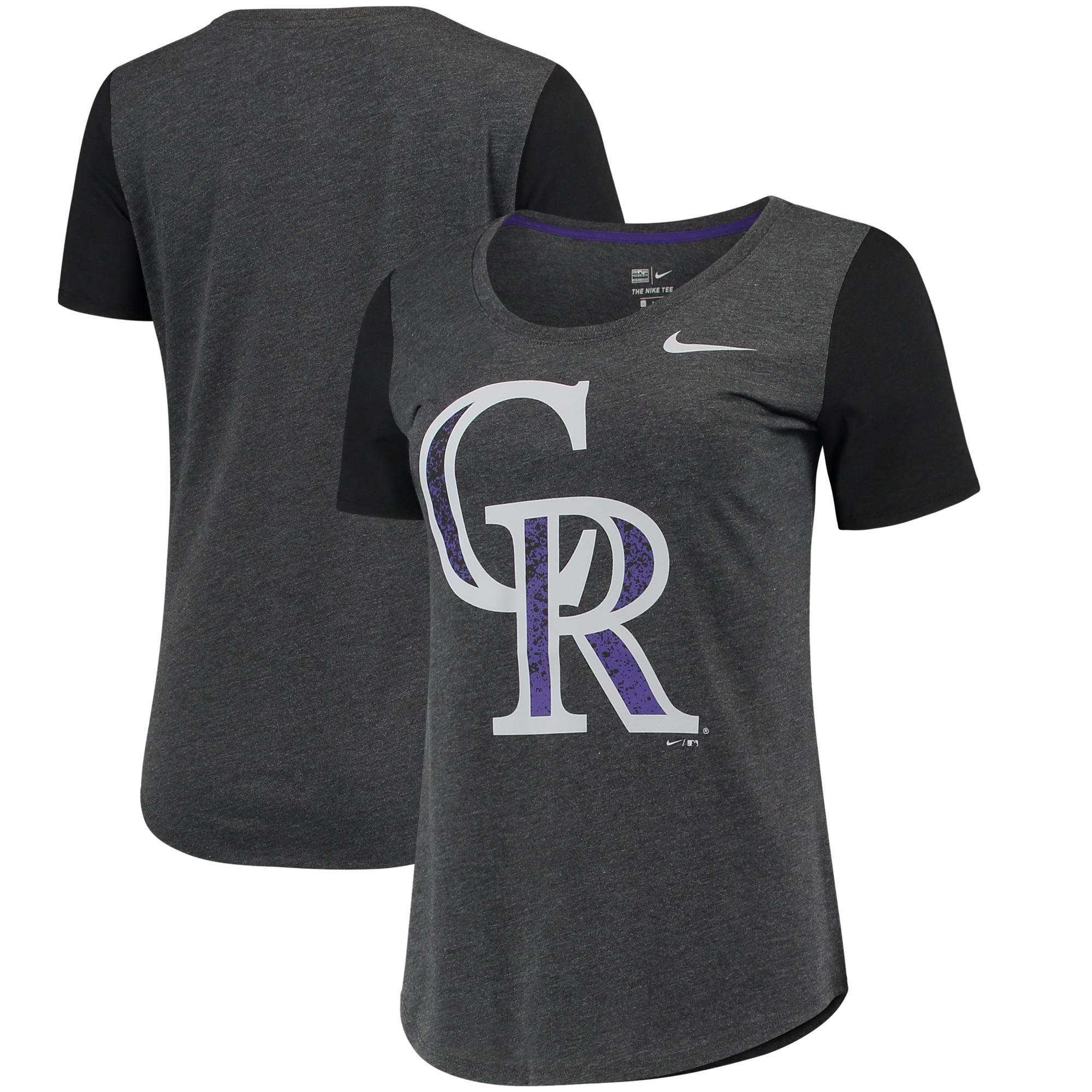 Colorado Rockies Nike Women's Tri-Blend Scoop Neck T-Shirt - Black