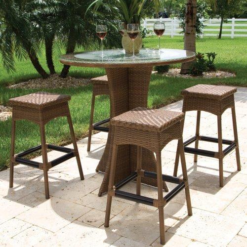 Hospitality Rattan Grenada 5 Piece Slatted Table Patio Pub Set with Backless Barstools - Viro Fiber Antique Brown - Seats 4