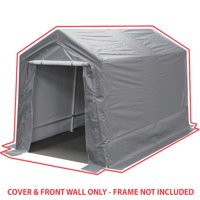 King Canopy 7 ft x 12 ft Silver Garage Cover and Front Wall Set