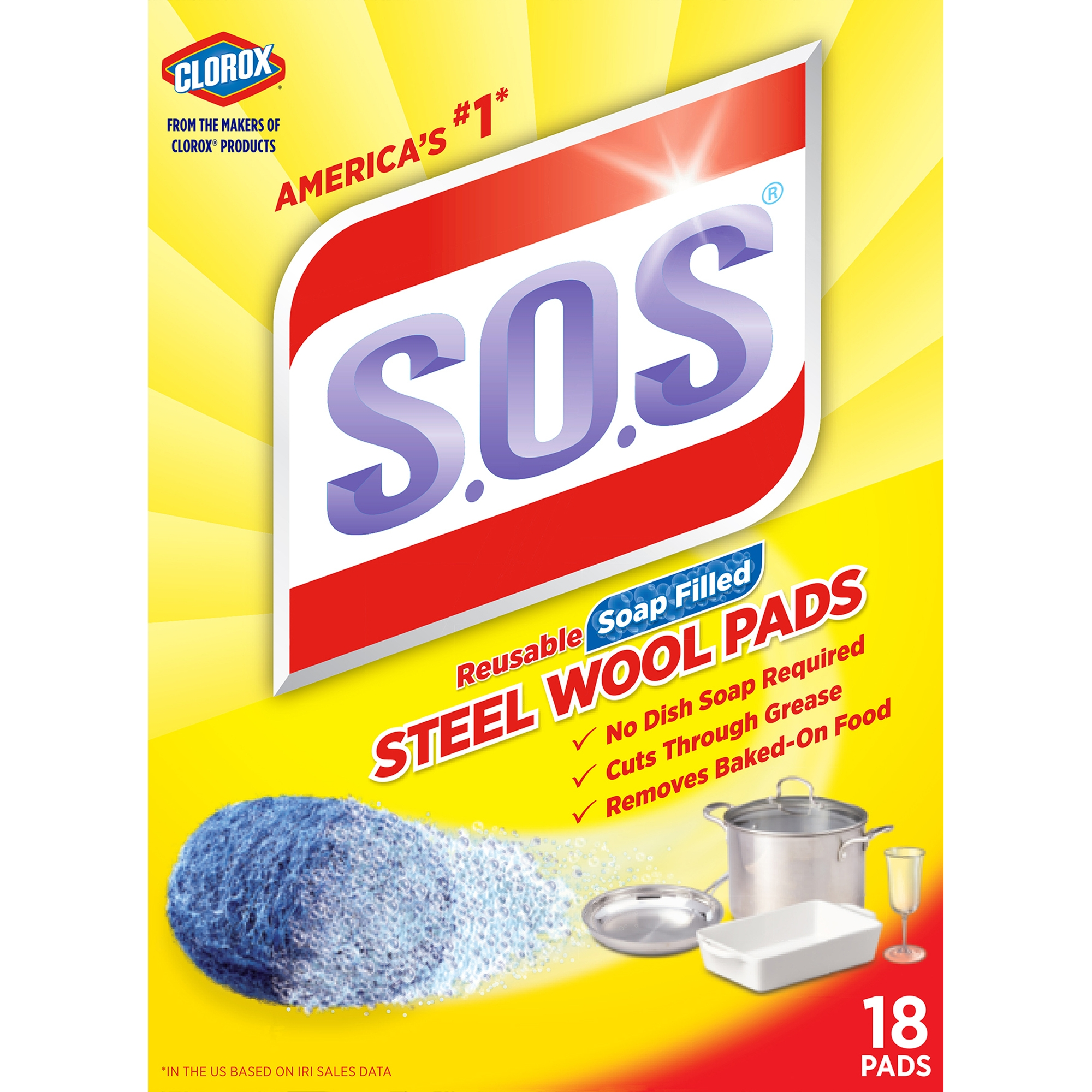 S.O.S Steel Wool Soap Pads, 18 ct