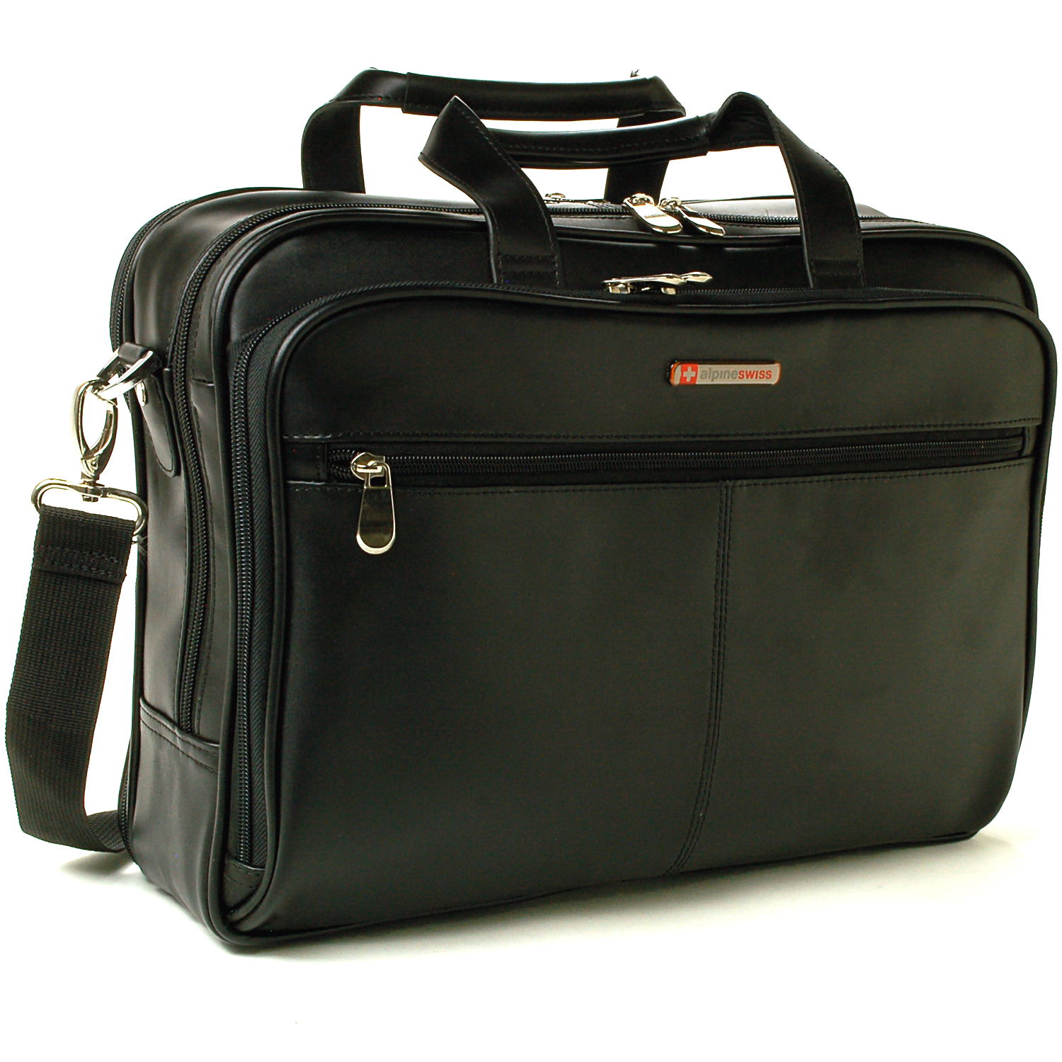 AlpineSwiss Leather Briefcase Laptop Case Messenger Bag Shoulder Strap Portfolio
