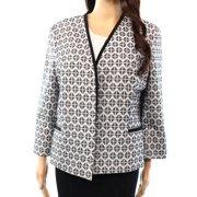 Kasper NEW Black White Geo-Knit Women's Size 4 Fly-Away Tweed Jacket