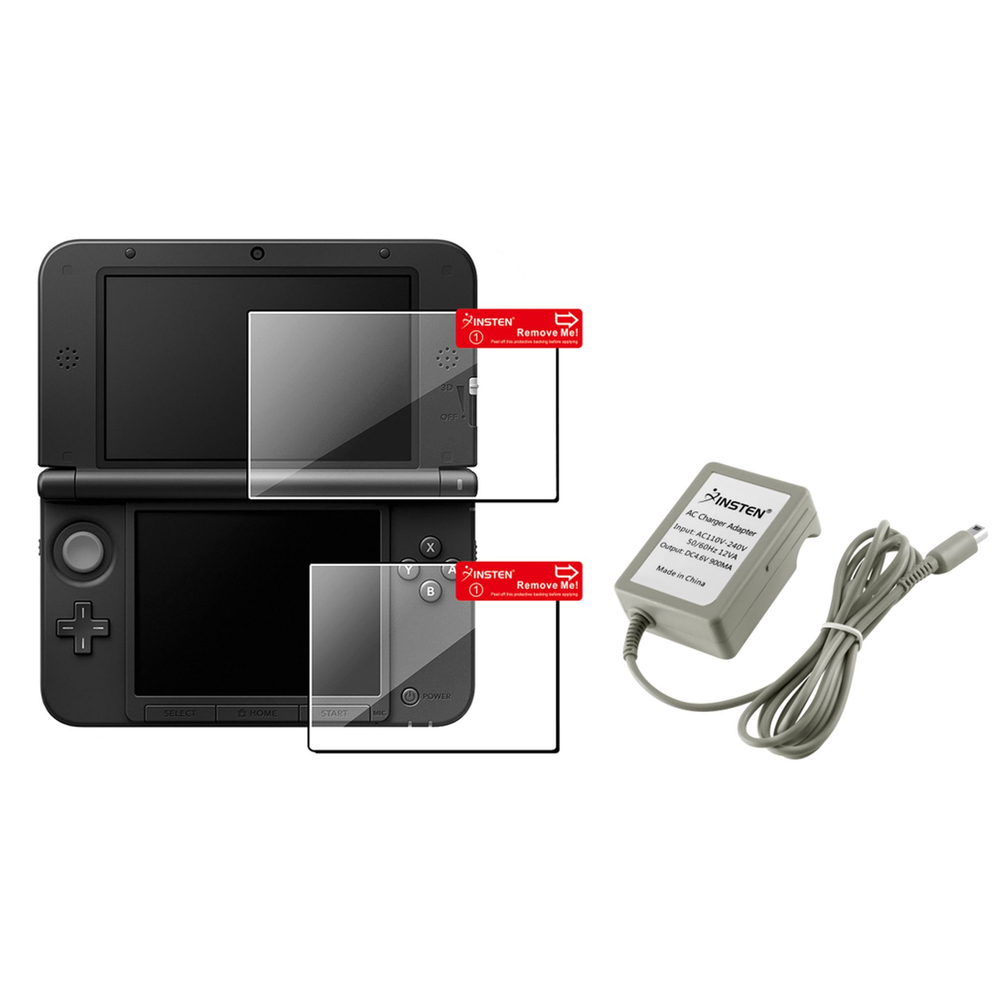 Insten Clear Top & Bottom LCD Screen Protector kit + Travel AC Wall Charger For Nintendo NEW 3DS XL LL / 3DS XL LL