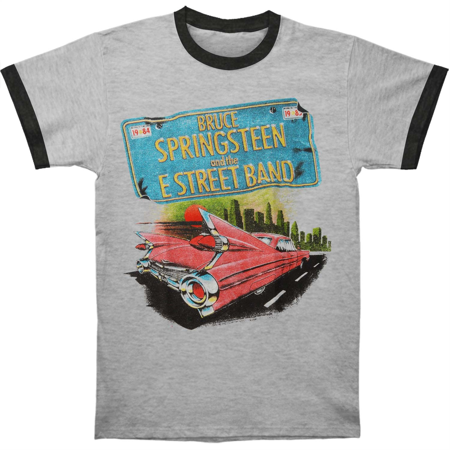 Bruce Springsteen Men's  Pink Car Tin Slim Fit T-shirt Athletic Heather