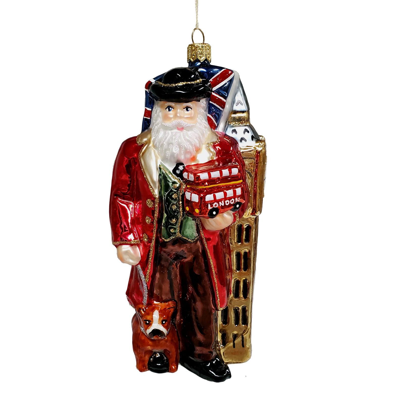 English Santa with Big Ben Trolley and Flag Polish Glass ...