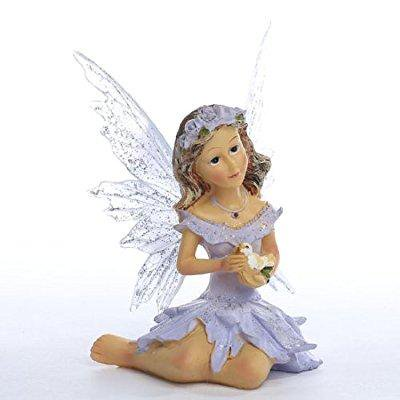 factory direct craft lavender resin painted messenger dover fairy for miniature work, gifting and collecting (Factory Craft Direct)