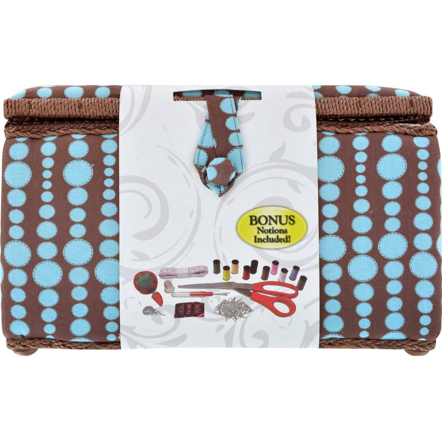 Singer X-Large Sewing Basket Kit with Accessories, Blue Dots