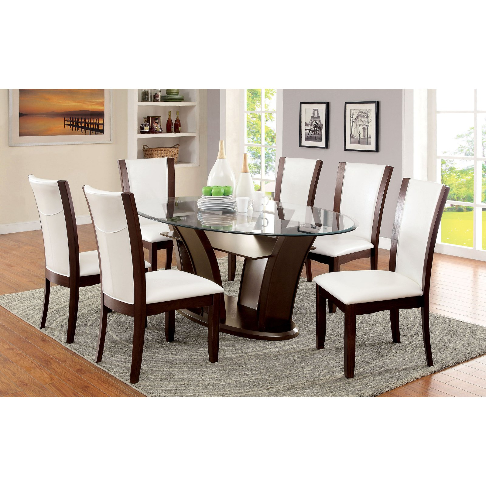 Furniture Of America Lavelle Tempered Glass Top Dining Table