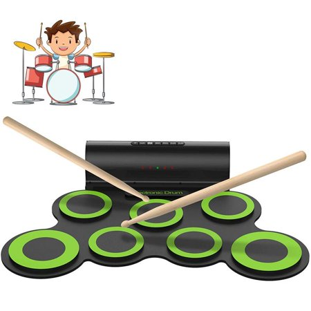 Faayfian Electric Drum Set, Roll Up Electronic Drum Set for Kids, Rechargeable Drum Pad Starter Practice Kit Allows Built-in Speaker and Headphone, Great Gift for Kids, Teens and