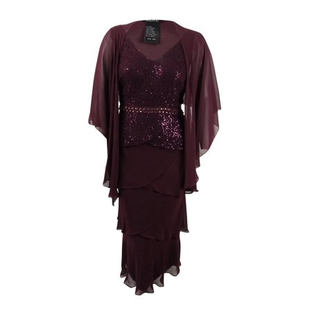 SL Fashions Women\'s Plus Size Sequined-Lace Tiered Dress & Jacket