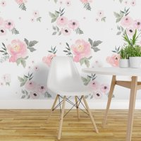 Removable Water-Activated Wallpaper Pastels Floral Baby Girl Nursery Home Decor