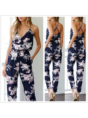 30294c7d1 Product Image New Trendy Women Clothes Summer Bodycon Party Backless Flower  Print Jumpsuit Sleeveless Polyester V-neck