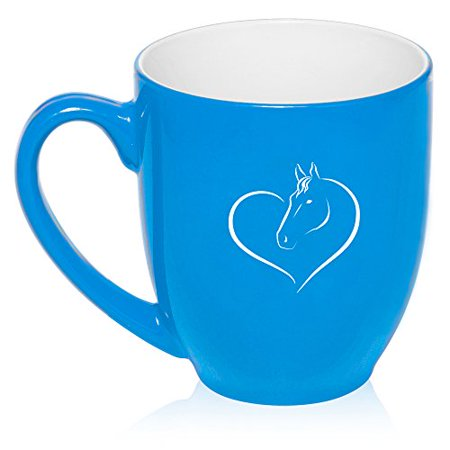 16 oz Large Bistro Mug Ceramic Coffee Tea Glass Cup Heart Horse (Light - Blue Glass Cups