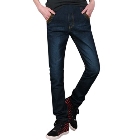 Men's Casual Belt Loop Zip Up Panel Style Jeans Trousers (Size M  /  W34)