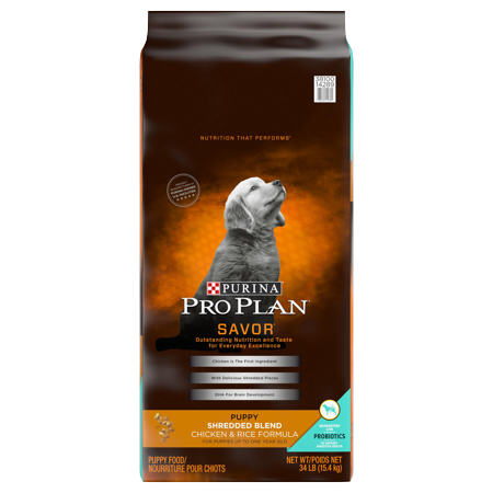 Purina Pro Plan Probiotics Dry Puppy Food, SAVOR Shredded Blend Chicken & Rice Formula - 34 lb. Bag