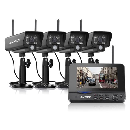 Annke Wireless Digital Home 4CH DVR + 4 Infrared Night Vision Security  Camera System with 7'' LED Monitor Support Motion Detecting & Video Storage  for