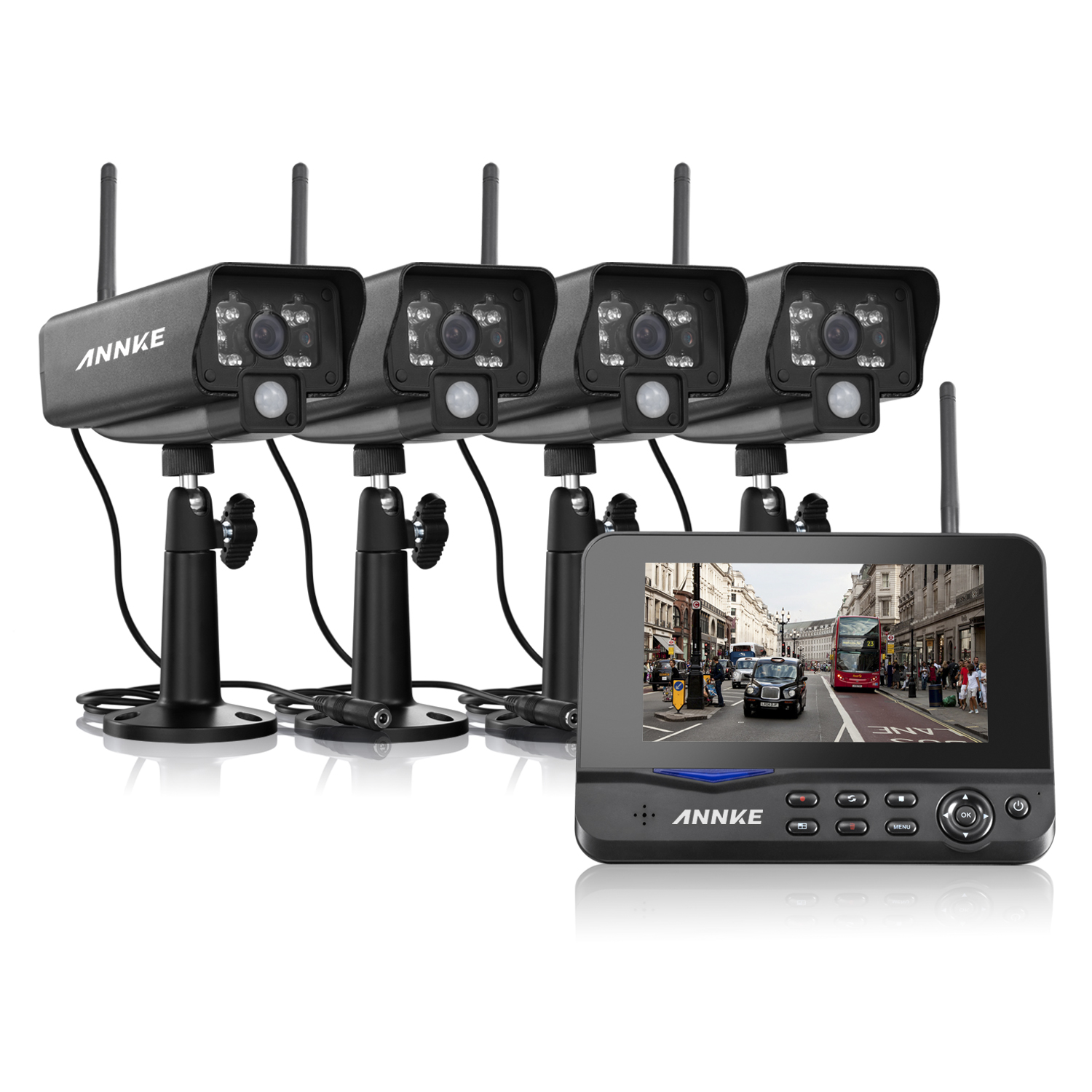 Annke Wireless Digital Home 4CH DVR + 4 Infrared Night Vision Security Camera System with 7'' LED Monitor Support Motion Detecting & Video Storage for Warehoues Garage Backyard Surveillance CCTV