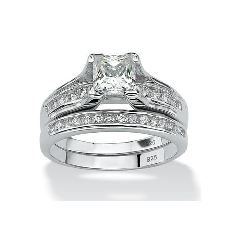 1.88 TCW Princess-Cut Cubic Zirconia Two-Piece Bridal Set in Platinum over .925 Sterling Silver