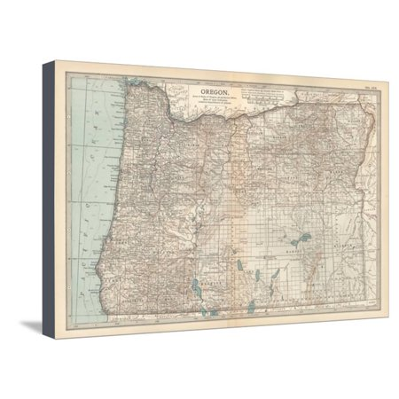 Plate 112. Map of Oregon. United States Stretched Canvas Print Wall ...