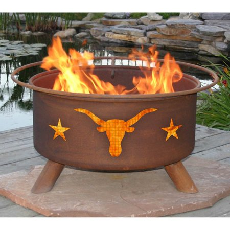 (Patina Texas Longhorns 30 diam. Fire Pit Set with Grill and Free Cover)