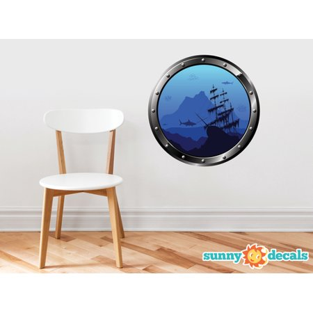 Porthole Fabric Wall Decal - Under the Sea with Ship, Sharks, and Fish