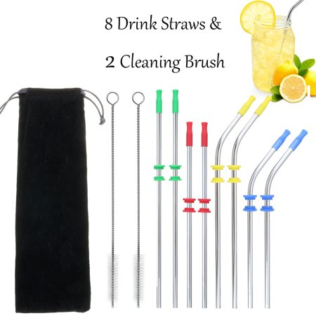 Stainless Steel Oval Silencer - Stainless Steel Straight & Curved Straws fits Yeti Tumbler Rambler Cups 20 oz - Strong Reusable Eco Friendly, 8 Straws + 2 Cleaner Brush + 4 Colors Silicone Silencers Kit