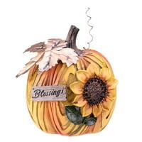 "6.5"" Sunflower Blessings Thanksgiving Table Top Pumpkin"