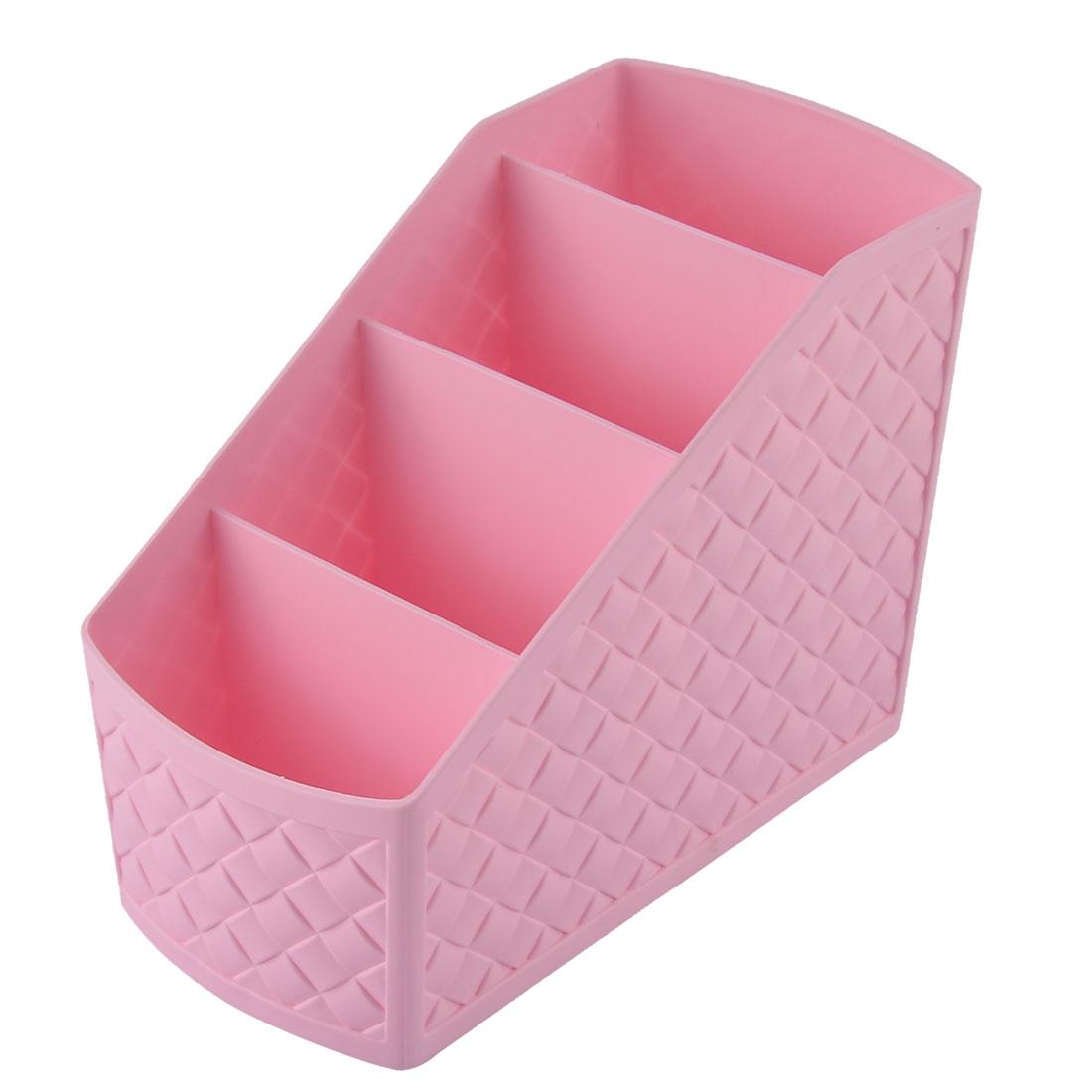 Imitation Rattan Design Home Cosmetic Desktop Storage Divider Container Box Cyan