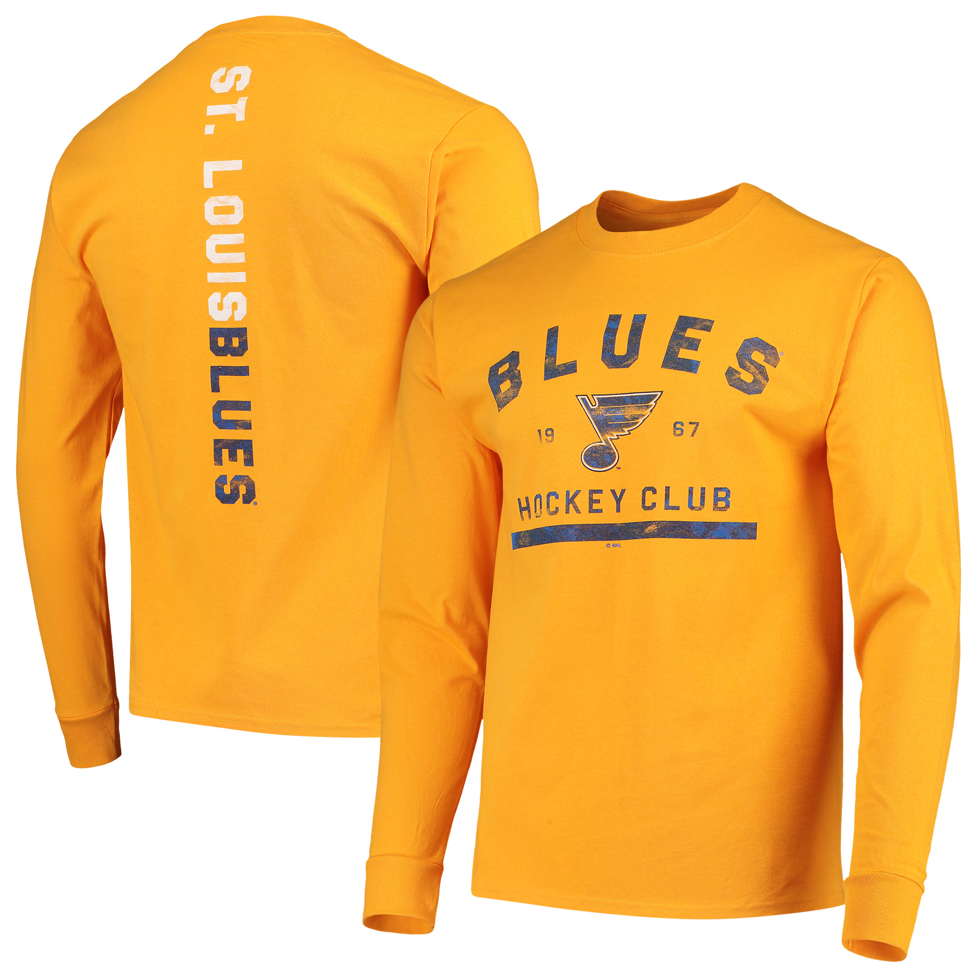 Men's Gold St. Louis Blues Spine Hit Long Sleeve T-Shirt