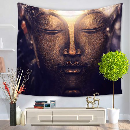 Buddha Hanging (60 * 50 inches Buddha Printed Tapestry Soft Polyester Wall Hanging Art Tapestry Home Living Room Bedroom)