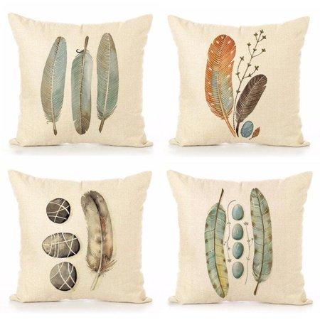 Vinyl Boutique Shop Cotton Linen Throw Pillow Case Feathers Print 18