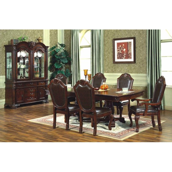 Mcferran D5004 Traditional Style Solid Wood Cherry Finish Dining Room Set 5Pcs