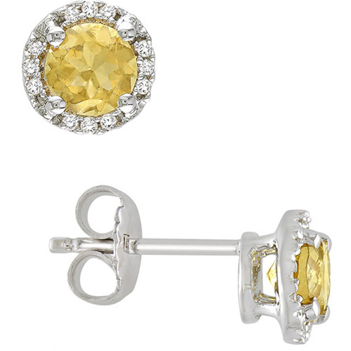7/8 Carat T.G.W. Round Cut Citrine and Diamond Accent Sterling Silver Stud Earrings