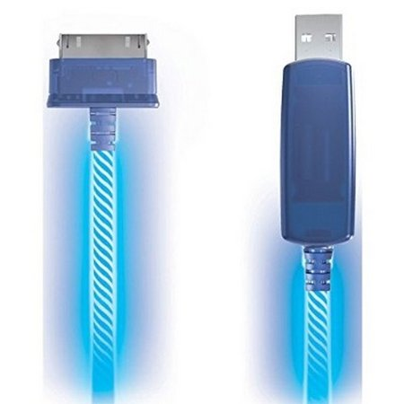 Electro Luminescent Analog - Refurbished Light Pulse Charge & Sync Cables - Blue Electroluminescent Visual Light Charge & Sync Cables - 30 Pin Connector